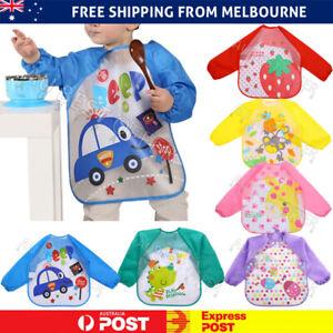 Baby Kids Smock Toddler Waterproof Long Sleeve Art Children Feeding Bib Apron AU