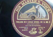 """78rpm 12"""" JULES SCHENDEL rachmaninoff prelude C# min/ liszt liebestraum"""