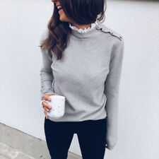 Women Solid Casual Long Sleeve Lace Pullover Tops High Neck Button Slim Blouse