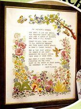 "Vintage Paragon ""My Mother's Garden"" Crewel Embroidery on Linen Sampler Kit"