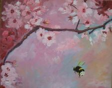 Original Painting Landscape Art Endangered Bee's Cherry Blossums  USA Sue Furrow