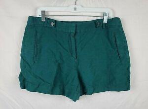 White House Black Market Women's Green Linen Blend Shorts sz 12