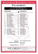 Teamsheet - Wrexham v Rochdale 1999/2000 (20 Nov) FA Cup