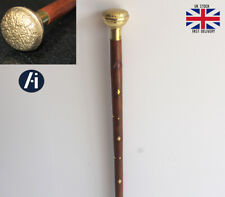 Victorian Style Brass Walking Stick Flower Curved Handle Wooden cane Antique
