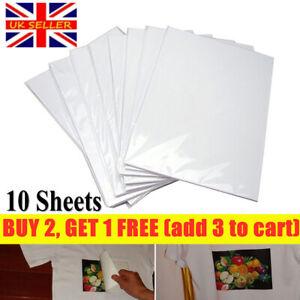 10PCS A4 T SHIRT TRANSFER PAPER IRON ON LIGHT FABRICS HEAT PRESS INKJET PRINT