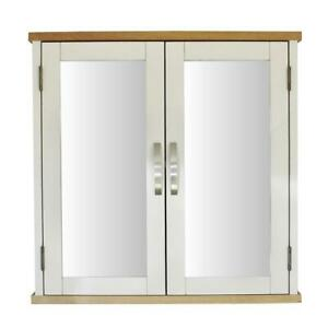 Off White/Cream Painted Wall Mounted Mirrored Bathroom Storage Cabinet 352P