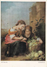Murillo Girls counting Money Postcard used VGC x