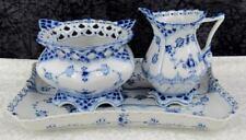 Royal Copenhagen Blue Fluted Full Lace Porcelain Creamer & Sugar w/Tray 1st Qual