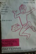 KANDEL KNITS #84 BOY one or two way stretch Bathing Suits sz 2 4 6 8 vintage 70'