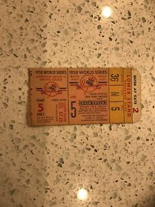 1958 World Series ticket New York Yankees Milwaukee Braves Gm 5 Bob Turley WIN