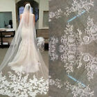 3M White Ivory 1T Cathedral Applique Edge Lace Bridal Wedding Veil With Comb