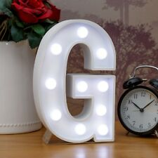 Light Up Letter G - White Marquee Letters 23cm LED Wooden Letter Lights Sign A-Z