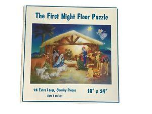 "THE FIRST NIGHT CHRISTMAS Floor Jigsaw Puzzle 24 Jumbo Piece 18"" X 24"" USA VHTF"