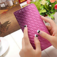 Fashion Women Lady Slim Leather Long Card Holder Purse Weave Clutch Handbag Bags