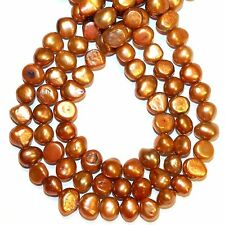 """NP496L2 Red Copper 8mm - 9mm Flat Potato Cultured Freshwater Pearl Beads 14"""""""