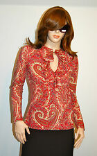 New $70 LRL Ralph Lauren Jeans PS Petite Small Blouse Paisley Red LS Shirt