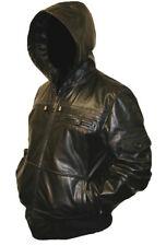 Mens HOODED Real Leather Bomber Jacket Coat Hoody Hoodie Hood Black or Brown