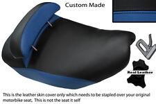 Blue & Negro Custom encaja Piaggio Hexagon 125 Doble Cuero Funda De Asiento