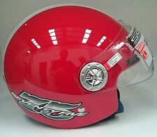 Raven Open Face Helmet with Visor Motorbike Scooter Honda Vespa Piaggio Red