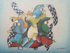 Pintura al óleo abstracta Colorido Hombre Grande Crema de Arte Contemporáneo Moderno Original