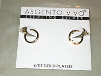 Argento Vivo Sterling Silver 18KT Gold Plated Earrings [ NEW ]