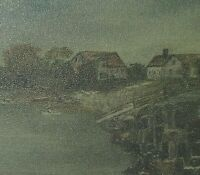 Antique Original Oil Painting Country Folk Art Primitive Nautical Seascape