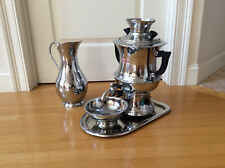 4PC Collectable Olympic Persian Electric Samovar Chrome Silver Finish