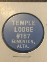 Vintage Token, Temple Lodge #167 Edmonton Alberta Canada Blue Token Coin T14