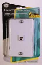 GE 3-Jack Wall Mount - White 6 Wire for 1to 3 lines - A1