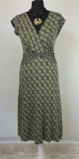 WHITE STUFF Size UK 10 Green Floral Tunic Tie Waist Midi Dress