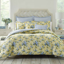 100% Cotton Classic Garden Yellow Blue Roses 7 pcs King Queen Comforter Set New