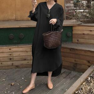 S-5XL Womens V Neck Cotton Casual Shirt Dress Holiday Midi Plain Pullover Dress