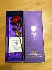 24K Golden Red Rose Foil in Box with certificate Love Anniversary Romance