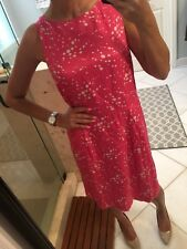 New Boden 100% Silk Sheath Dress Size 12r US Uk 16R Pink Polka Dot Retro 50's