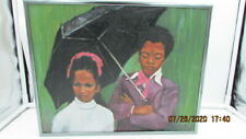 Vintage Original Oil on Canvas Signed Hoeltje Black Children Purple Rain 1974