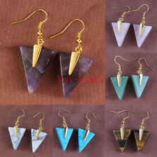 Classic Cute Triangle Geometric Pyramid Shard Stone Dangle Hook Earring Jewelry