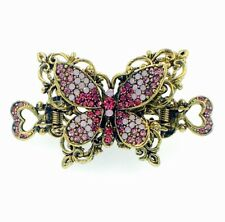 VINTAGE BUTTERFLY HAIR CLAW CLIP HAIRPIN USE SWAROVSKI CRYSTAL ELEGANT GOLD PINK