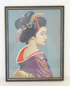 """Japanese Geisha Artwork Painting with Frame 11"""" x 14"""" - Hand Painted Design"""