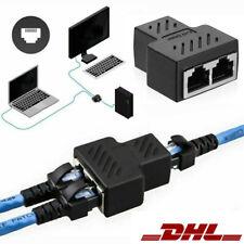 RJ45 Adapter Splitter Netzwerk LAN Kabel Verteiler Doppler 1 to 2 Dual Ports DE
