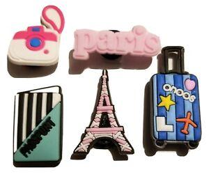 Paris Anyone? Eiffel Tower Camera +  Shoe Charms! 5pcs! NEW! For Crocs, Clogs,