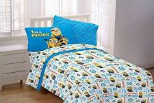 Despicable Me Minion 4 Piece Full Size Sheet Set Kids Boys Girls Bed Blue New