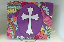 Paisley print with cross Christian religious mouse pad