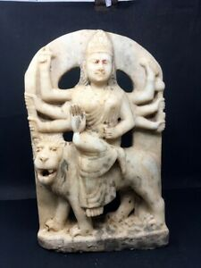 Ancient Marble Stone Hand Carved Hindu Goddess Durga Sitting On Lion Figurine