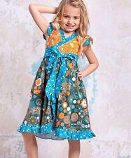 NWT 6 Jelly the Pug boutique Agra floral orange & aqua blue dot Misha dress