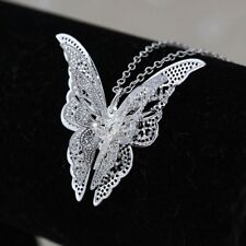 Silver Butterfly Pendant - Lovely Beautiful Jewelry Chain Necklace