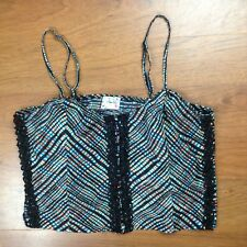 Free People Intimately Black MultiColor Crop Top Camisole Button Front Plaid Sm