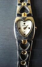 Fossil F2 Ladies Silver and Gold Tone Heart Face Wrist Watch ES 9766 Pre-Owned