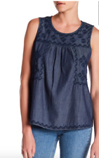 NEW Susina Embroidered Chambray Sleeveless Top XL