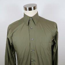 Van Heusen Mens Poplin Wrinkle Free LS Button Down Army Green Shirt M 15 32/33