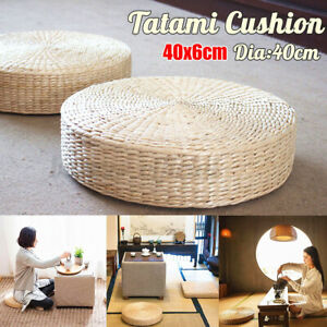 "US 16"" Round Pouf Tatami Floor Cushion Yoga Mat Natural Straw Meditation"